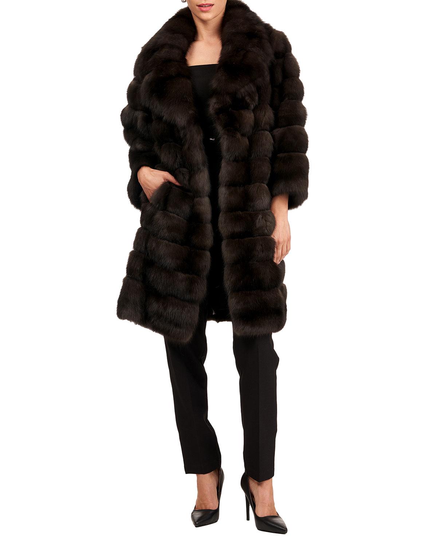Russian Sable Horizontal Fur Stroller Coat