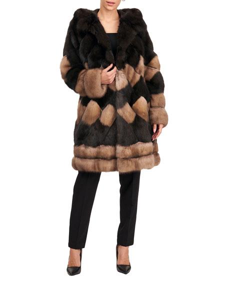 Pajaro Two-Tone Diagonal Sable Fur Parka Jacket