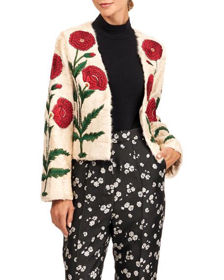 Oscar de la Renta Lamb Fur Jacket With Poppy Embroidery