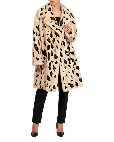 Cheetah-Print Mink Fur Coat