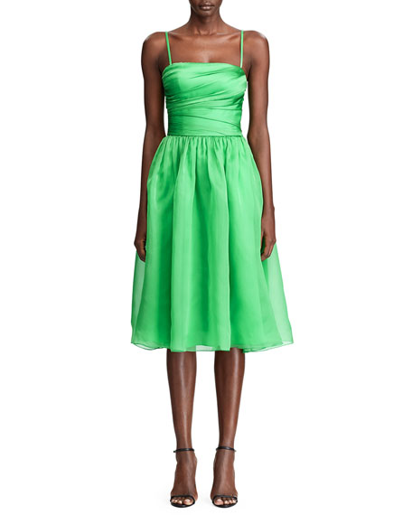 Ralph Lauren Collection Annora Gathered Silk-Taffeta Midi Dress