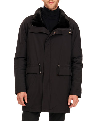 Men's Sheared Mink Fur Lined Horizontal Stroller Coat