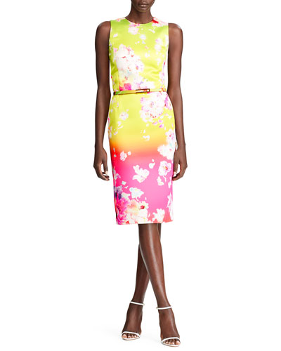 Tuscon Ombre Floral-Print Cocktail Dress