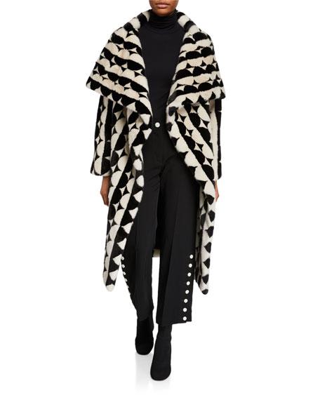 Oscar de la Renta Short Mink Fur Intarsia Coat