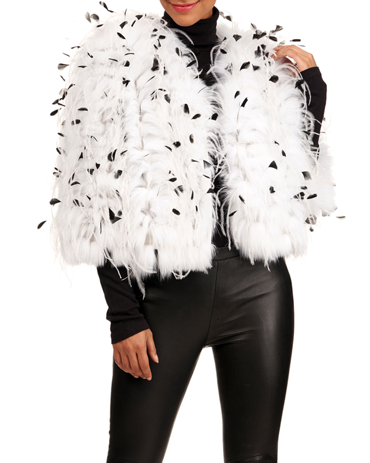 Oscar De La Renta Jackets SHADOW FOX FUR JACKET W/ OSTRICH AND COQUE FEATHERS