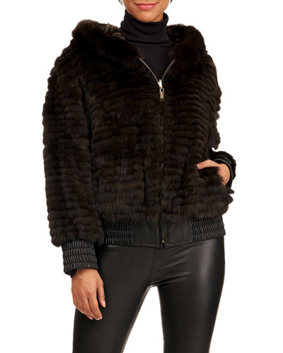 Russian Sable-Quilted Hoodie