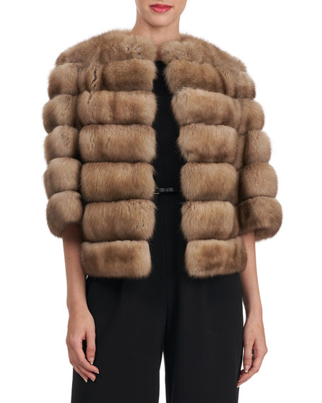Zac Posen Horizontal Sable Jacket