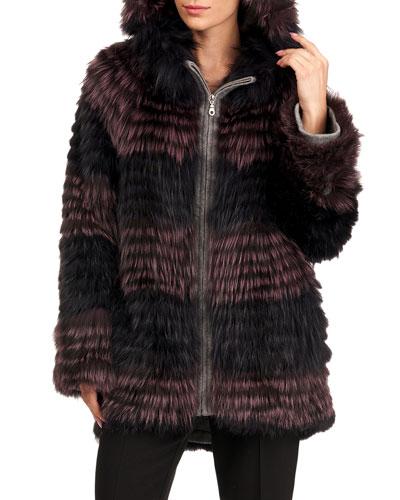 Silver Fox Fur Stripped Jacket W/ Hood