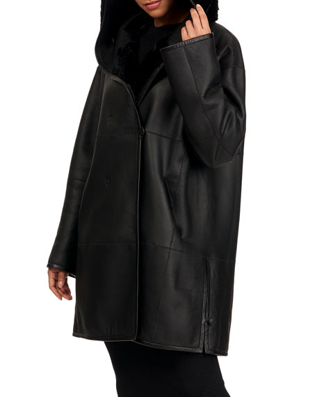 Christia Reversible Shearling Lamb Fur Parka Coat w/ Belt