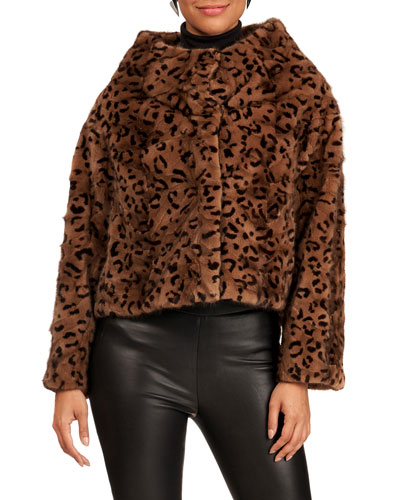 Funnel-Neck Animal-Print  Mink Fur Section Jacket