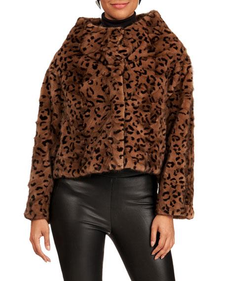 Reich Furs Funnel-Neck Animal-Print  Mink Fur Section Jacket