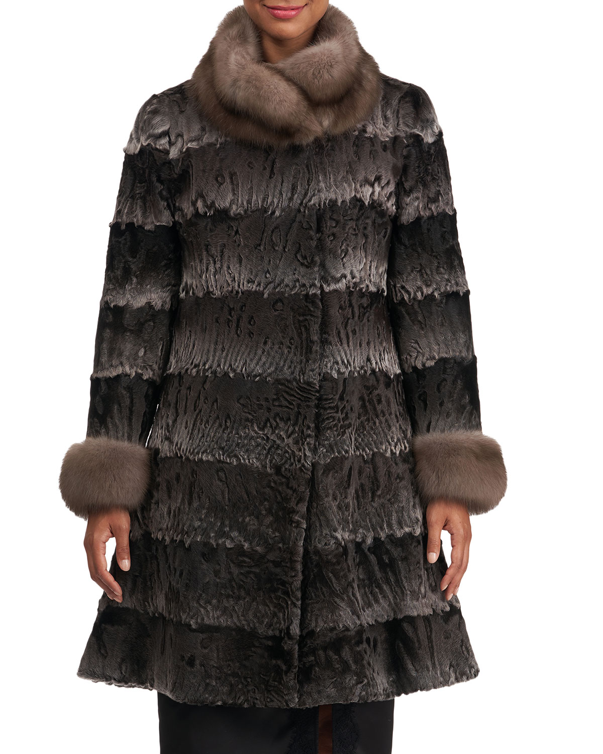 Zac Posen Coats LAMB FUR STROLLER COAT W/ SABLE COLLAR AND CUFFS