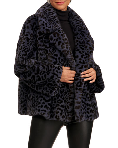 Leopard-Print Longhair Mink Fur Jacket
