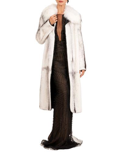 Short Mink Fur Coat W/ Detachable Fox Collar