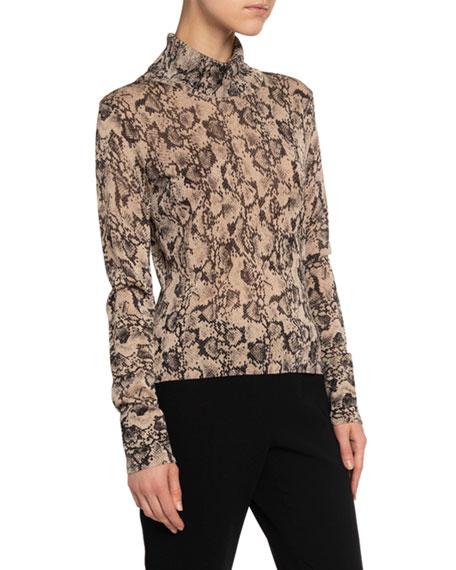 Altuzarra Python-Print Turtleneck Sweater