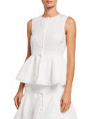 Brock Collection Woven Button-Front Peplum Shirt