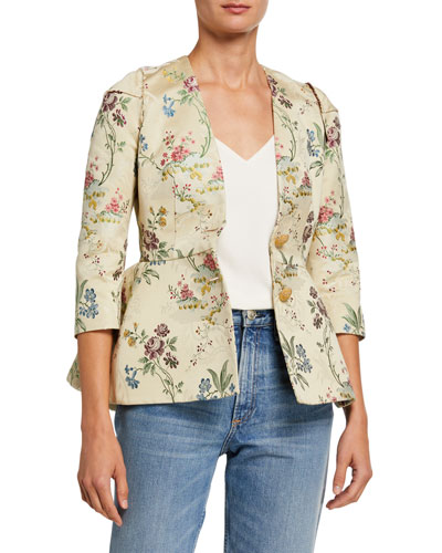 Floral Print Cotton-Silk Jacket
