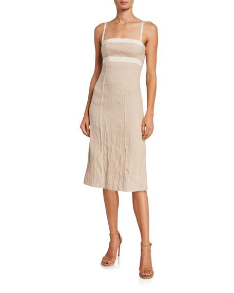 Brock Collection Linen Square-Neck Dress