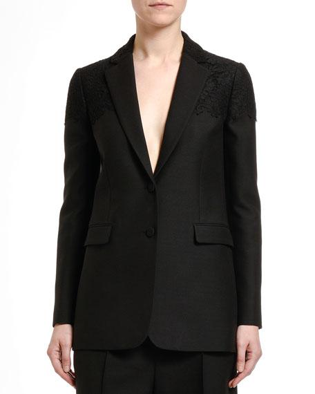 Valentino Lace-Trim Crepe Couture Blazer
