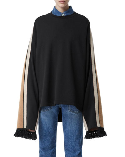 Cotton Sweatshirt with Cashmere-Scarf Back