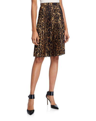 Rersby Leopard Pleated Skirt