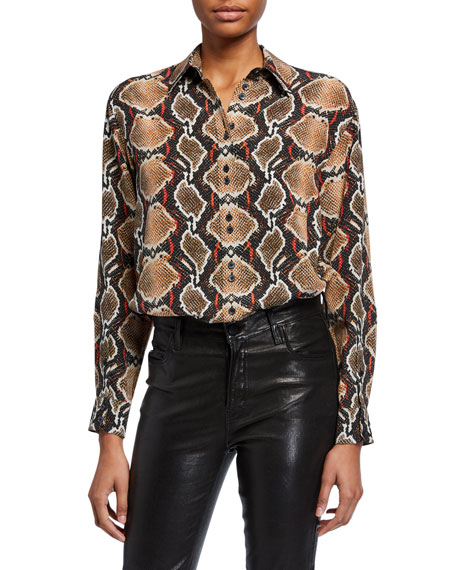 Burberry Carlota Python-Print Silk Button-Front Shirt