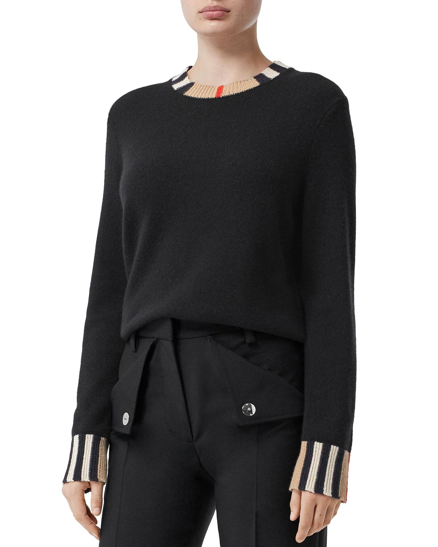 Eyre Cashmere Check-Trim Sweater