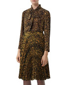 Burberry Amelie Leopard-Print Silk Button-Front Shirt