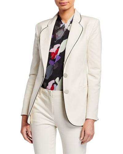 Two-Button Stretch Cotton Jacket w/ Contrast Piping
