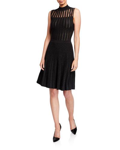 Mock-Neck Sleeveless Metallic & Lace Sheer-Yoke Dress