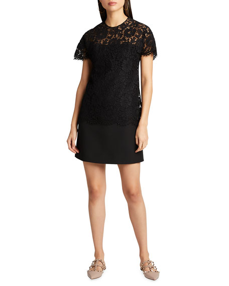 Valentino Heavy Lace Short-Sleeve Dress