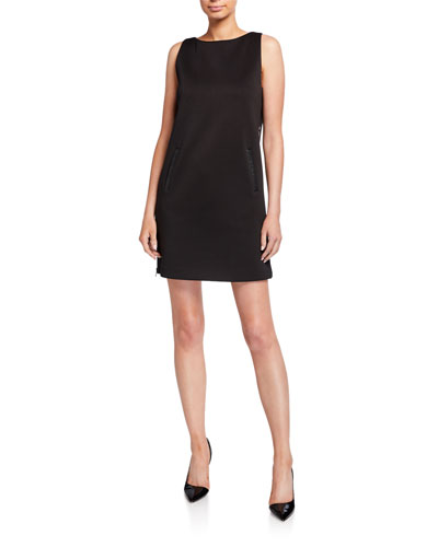 Sleeveless Jersey Shift Dress w/ Leather Trim & Side Zip Panel