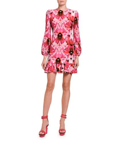 Floral Crepe De Chine Mini Flounce Dress