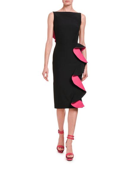 Alexander McQueen Contrast-Face Ruffled Cutout Midi Dress