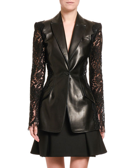 Alexander McQueen Leather Blazer with Lace Sleeves