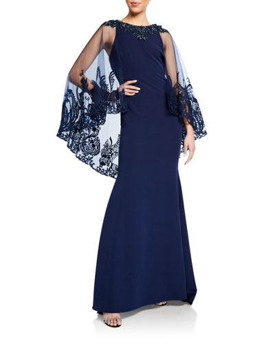 Lace Cape-Sleeve Column Gown