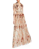 Badgley Mischka Couture Ombre Sequined Shirt Gown