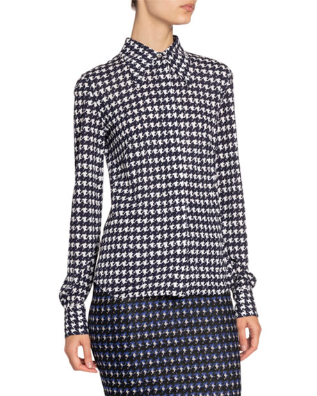 Victoria Beckham Houndstooth-Print Jersey Button-Front Top