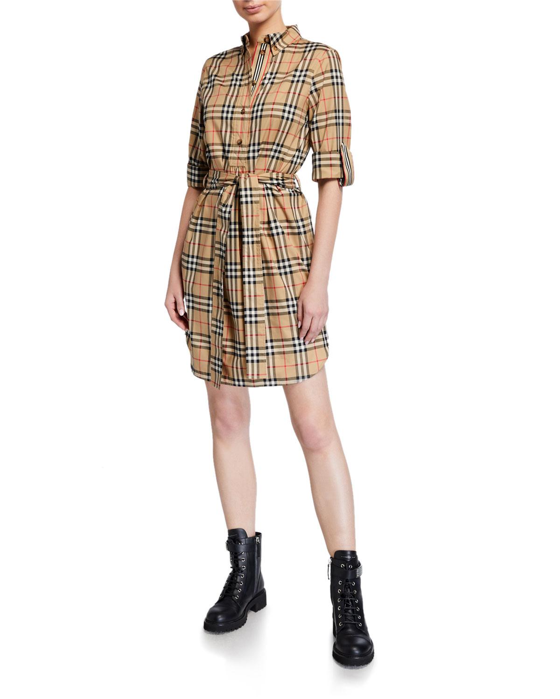 Giovanna Vintage-Checked Cotton Shirtdress
