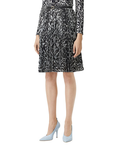 Rersby Pleated Leopard-Print Skirt
