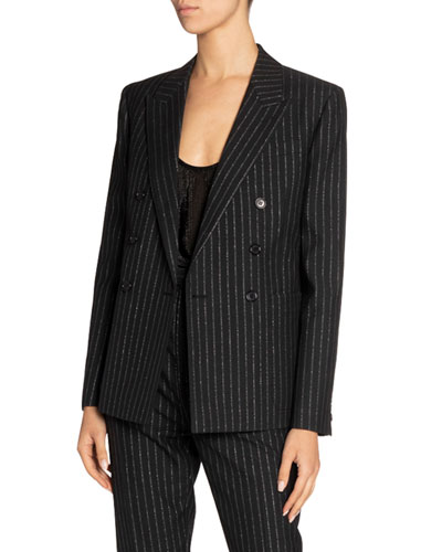 Metallic Pinstripe Double-Breasted Blazer