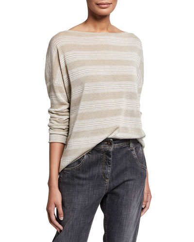 Shimmer-Striped Linen Boat-Neck Sweater