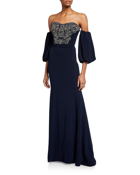 Theia Couture Off-the-Shoulder Balloon-Sleeve Beaded Column Gown