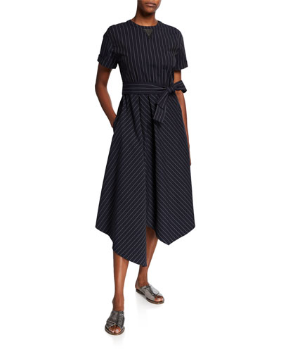 Cotton-Poplin Short-Sleeve Dress
