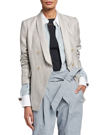Brunello Cucinelli Shimmered Linen Double-Breasted Blazer Jacket