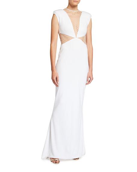 CDGNY Studded Mesh Illusion Column Gown