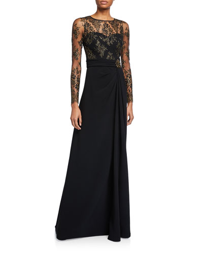 Long Lace-Sleeve Gown