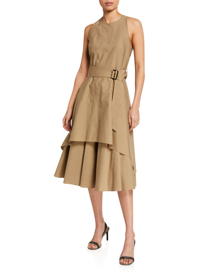 Brunello Cucinelli Tiered Crinkled Cotton Dress