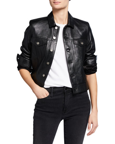 Leather Boxy Jacket