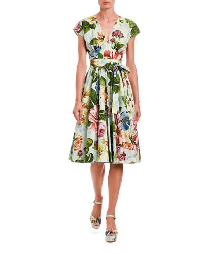 Floral Wrap Midi Dress